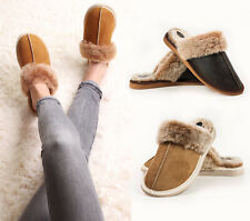 ❤️ Hand crafted Mens Womens Genuine Sheepskin Mule Slippers, 100% Real Fur Lined