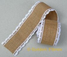 Natural Hessian Burlap Jute Floral Lace Edge Rustic Craft Ribbon Vintage Wedding