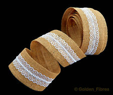 Natural Bridal Hand Made Lace Burlap Jute Hessian Ribbon Rustic Wedding Favours