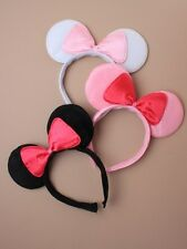Mouse Ears with Bow on an Aliceband / Headband - Pink/Black & White (J021)