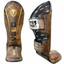 VELO Strike Leather Shin Guards Instep Pads MMA Leg Foot Muay Thai Kick Boxing