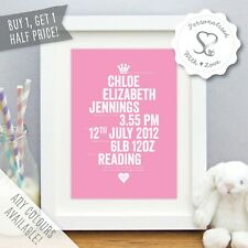 Personalised New Baby Newborn Birth Boy Girl Print or Framed Print Picture Gift