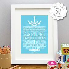 Personalised Nautical Anchor New Baby Birth Boy Girl Print/Framed Picture Gift