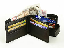 Leather Wallet Mens Credit Card holder Coins Pouch Bifold Slim Purse Black Money