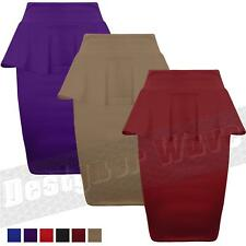 Ladies Womens Peplum Skirt Pencil Bodycon Fitted Frill Knee Length 8 14
