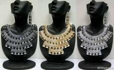 STATEMENT FUNKY ABSTRACT AZTEC STYLE BIB FRONT NECKLACE EARRING SET