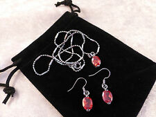 Austrian Crystal 18k White Gold Plated Oval Necklace & Earrings Set