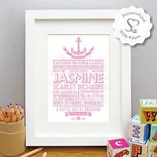 Personalised Nautical Anchor New Baby Birth Boy Girl Print/Frame ChristeningGift