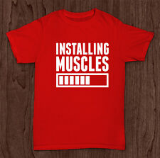 Installing Muscles T Shirt Gym Funny Joke New Mens Retro Top Gift Xmas #27