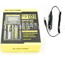 Nitecore Digicharger D2 Smart Charger LCD AA 18650 18350 16340 14500 +Car charge