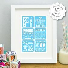Personalised New Baby Birth Boy Girl Print or Framed Christening Picture Gift