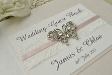 Diamante Butterfly Wedding Guest Book. Luxury Personalised Guest Book with Box.