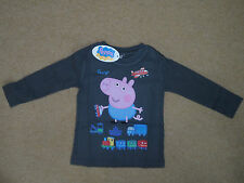 PEPPA PIG GEORGE LONG SLEEVED TOP BOYS TOP AGE 2-8Y OFFICIAL LICENSED