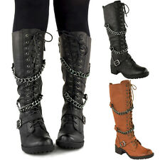 LADIES WOMENS KNEE HIGH MID CALF LACE UP BIKER PUNK MILITARY COMBAT BOOTS SHOES