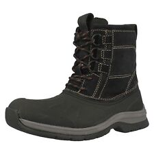 Clarks Nashoba Summit Rubberised Black Upper and Suede Lace Up Boots G Fitting