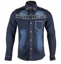 Men's Western Long Sleeve Stud Blue Denim Shirts Slim Fit Vintage S - L