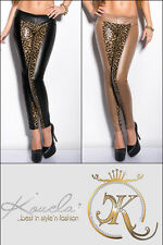 Damen Leggings Leggins Hose Stretch 36 38 40 Wet Look Lederoptik Leopard Leo
