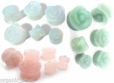 Pink Rose Quartz / Argenon Opalite /Jade Carved Ear Plug Double flared stretcher