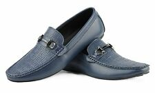 Mens Real Leather Blue HorseBit Buckle Driving Loafer Shoes Embossed Top Panel