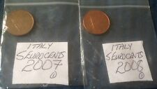 Italian Five Euro Cent 5 EuroCent Coins Italy European 2002 - 2008