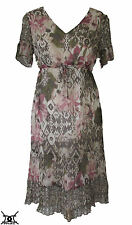 Gerry Weber Size 10 Short Sleeve Empire Line Lined Sheer Floral Dress RRP £115
