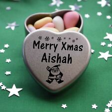Merry Xmas Aishah Mini Heart Tin Gift Present Happy Christmas Stocking Filler