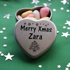 Merry Xmas Zara Mini Heart Tin Gift Present Happy Christmas Stocking Filler