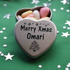 Merry Xmas Omari Mini Heart Tin Gift Present Happy Christmas Stocking Filler