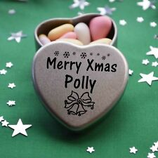 Merry Xmas Polly Mini Heart Tin Gift Present Happy Christmas Stocking Filler