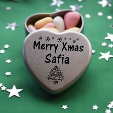 Merry Xmas Safia Mini Heart Tin Gift Present Happy Christmas Stocking Filler