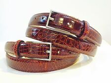 "NEW REAL GENUINE ALLIGATOR crocodile COGNAC BROWN  1"" BELT M L XL 40 42 golf"