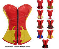 Full Steel Boned Heavy Lacing Genuine Leather Overbust Shaper Corset #9036(R)