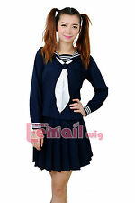 New Japanese High School Girl Sailor Uniform Suit Cosplay Costume dress s-xxxl