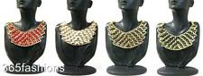 STATEMENT CHUNKY MULTI CHAIN FAUX LEATHER WOVEN BIB FRONT NECKLACE