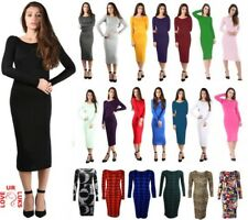 LADIES WOMENS MIDI DRESS LONG SLEEVE STRETCH BODYCON PLAIN JERSEY MAXI PLUS SIZE