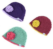 DRY KIDS Childrens Hand Crocheted Beanie Hat with contrast colour Flower
