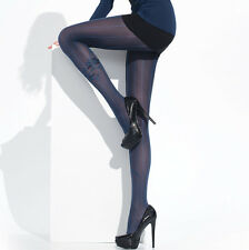 """Opaque Patterned Tights """"Roma"""" 50 Denier - blue vertical lines"""