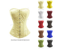 26 Double Steel Boned Waist Training Leather Overbust Shaper Corset #H9970-DB-LE