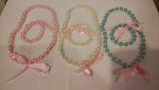 Beautiful Bowknot Pearl Necklace and Bracelet for Girl Children Jewelry Set