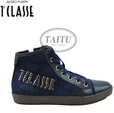 SCARPE SNEAKERS DONNA ALVIERO MARTINI IN CAMOSCIO BLU BORCHIE SHOES 1058 8122