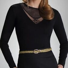 "Black Womens Top Blouse T-shirt Long Sleeved ""Aisha"" with Lace Neckline"