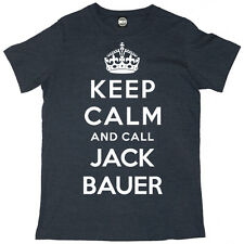 24 KEEP CALM AND CHIAMATA JACK BAUER UOMO KIEFER SUTHERLAND SERIE TV T-SHIRT