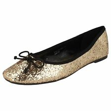 Spot on F8994 Ladies Gold Flat shoes with Bow detail (32B)