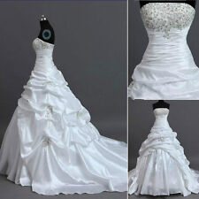 New White / ivory taffeta Wedding Dress Prom Gown Stock Size 6 8 10 12 14 16