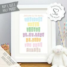 Personalised New Baby Birth Christening Boy Girl Print or Framed Picture Gift