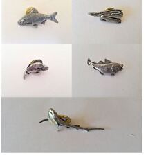 pewter pin badge fish Roach cod reel Shark bass fly Pike Perch carp Marlin etc