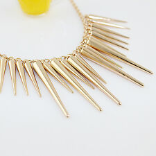GOLD/ SILVER SPIKES PUNK NECKLACE CHOKER CHAIN FASHION UK SELLER