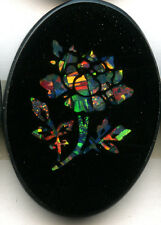 Natural color Australian opal Rose Cabochon with black onyx and glass 24x17