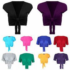 WOMENS LADIES PLAIN TIE FRONT SHORT SLEEVE BOLERO SHRUG SHORT CARDIGAN SIZE 8-14
