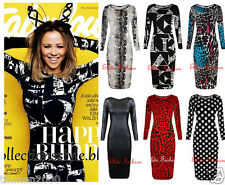 Women Ladies Celebrity Long Sleeve Printed Stretchy Bodycon Party Midi Dress8-14
